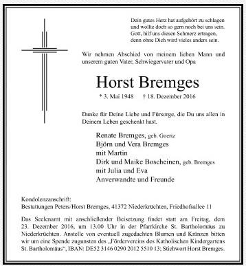 Bremges-Horst-Traueranzeige